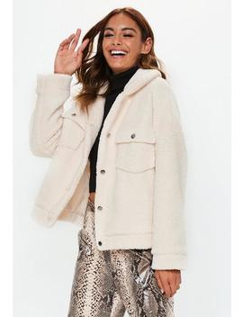 Cream Oversized Borg Trucker Teddy Jacket by Missguided