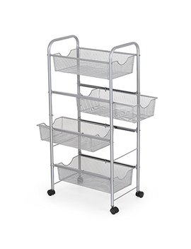 Nex Storage Cart Organizer With Drawers Basket Wheels Durable Mesh Wire Rolling Cart For Home Kitchen Bathroom Laundry Storage by Nex