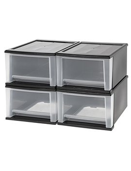 Iris 17 Quart Stacking Drawer, 4 Pack, Black by Iris Usa, Inc.