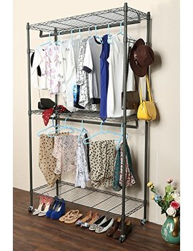 Homdox 3 Shelves Wire Shelving Clothing Rolling Rack Heavy Duty Commercial Grade Garment Rack With Wheels And Side Hooks (One Pair Hook And Two Hanging Rods Gray) by Homdox