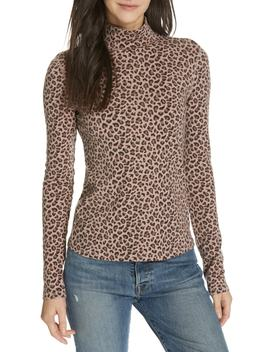 Ocelot Print Mock Neck Top by La Vie Rebecca Taylor