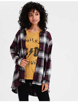 Ae Ahh Mazingly Soft Oversized Plaid Shirt by American Eagle Outfitters