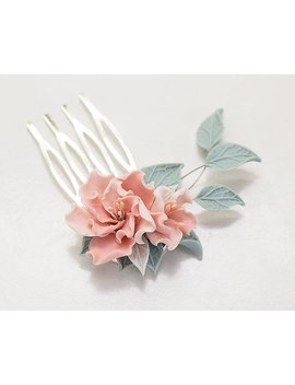 Pink Flower Hair Comb. Floral Hair Piece. Wedding Flower Comb. Flower Head Piece. Bridesmaid Gift. Blush Flower Wedding Hair Accessories by Etsy