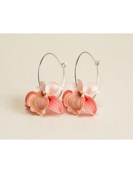 Peach Orchid Earrings Hoop. Coral Pink Flower Earrings. Sterling Silver Hoops Earrings. Polymer Clay Jewelry. Tropical Flower Earrings Hoop. by Etsy