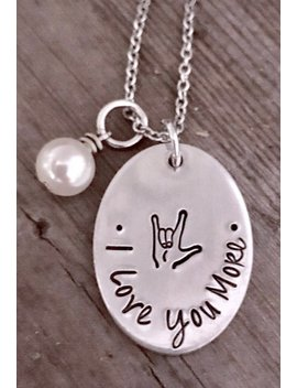 Custom Personalized, Sign Language Jewelry, Als, American Sign Language, I Love You, Sign Language Jewelry, Hand Stamped, Hand Made Jewelry by Etsy