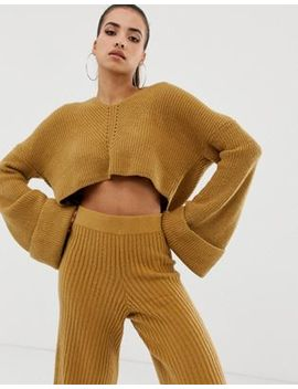 Missguided V Neck Cropped Hooded Sweater Two Piece In Camel by Missguided
