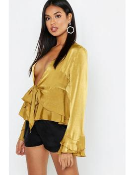 Hammered Satin Double Ruffle Tie Front Blouse by Boohoo