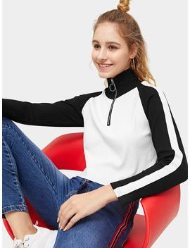 Quarter Zip Raglan Sleeve Crop Jumper by Romwe