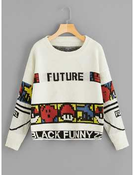 Letter And Cartoon Print Sweater by Romwe
