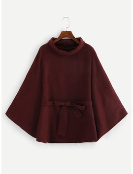 Self Belted Poncho Coat by Shein