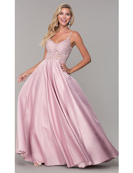 Long V Neck Prom Dress With Embroidered Bodice by Promgirl