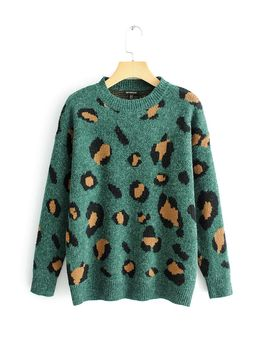 Drop Shoulder Leopard Print Jumper by Romwe