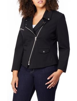 Asymmetrical Zip Moto Jacket by Rebel Wilson X Angels