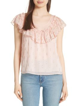 Metallic Ruffle Silk Blend Blouse by Rebecca Taylor