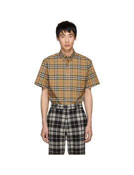 Beige Vintage Check Short Sleeve Shirt by Burberry