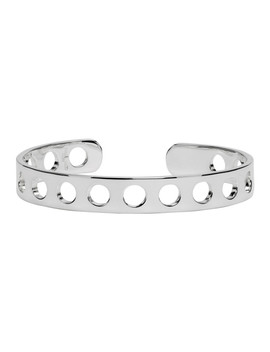 Silver Perforated Cuff Bracelet by Maison Margiela