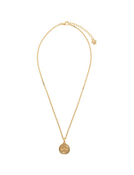Gold Round Medusa Pendant Necklace by Versace