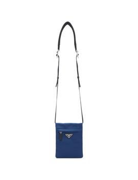 Blue Nylon Fold Over Messenger Bag by Prada