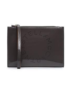 Grey Stella Logo Faux Patent Leather Pouch by Stella Mc Cartney