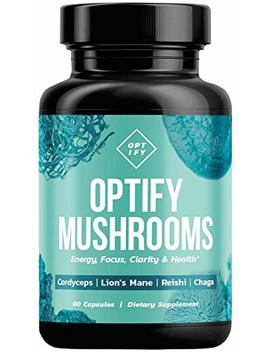 New! Optify Mushroom Supplement   Lions Mane, Cordyceps, Reishi & Chaga Capsules   Nootropic Brain Supplement & Immune System Booster For... by Optify
