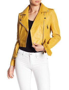 Cropped Leather Moto Jacket by W118 By Walter Baker