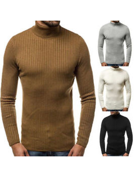 Men Turtleneck Long Sleeve Chunky Cable Knit Jumper Pullover Winter Sweater Top by Unbranded