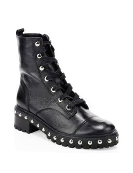 Andrea Studded Leather Combat Boots by Schutz