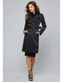 Quilt Detail Trench Coat by Bebe