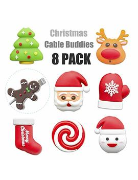 Kimcome Christmas Bites Cable Protector 8 Pack, Santa Cord Buddies For Charging Cords, Cable Bites Cord Protectors by Kimcome