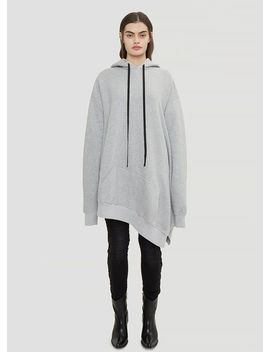Oversized Hooded Asymmetric Cape Sweater In Grey by Unravel Project