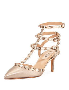 Rockstud Metallic Pointed Ankle Pumps by Valentino Garavani