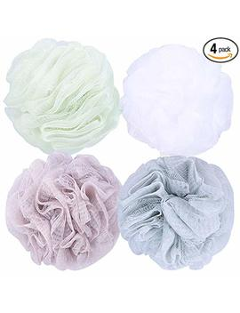 Jmj Bathing Series Loofah Bath Sponge Mesh Shower Wash Ball Lufa Bath Soap Pouf Bathroom Accessories Body Sponges For Shower Pack Of 4 (60g/Pcs) … by Jmj