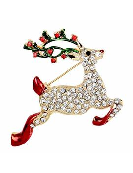 Hosaire Brooch Eleagant Fashion Christmas Deer Design Brooch Pin For Wedding Alloy Rhinestone Shawl Clip Lover Gift by Hosaire