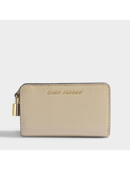 Compact Wallet In Light Grey Calfskin by Marc Jacobs