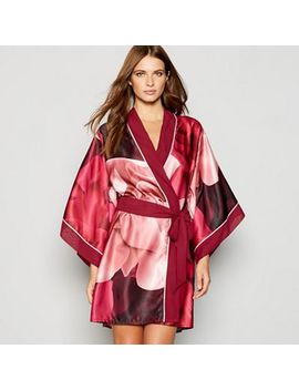 B By Ted Baker   Red Floral Print 'porcelain Rose' Satin Kimono Dressing Gown by B By Ted Baker