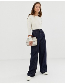Asos White Wide Leg Jeans With Stitch Detail by Asos White