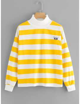 Striped High Neck Embroidered Sweatshirt by Romwe