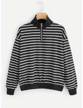 Striped Stand Collar Sweatshirt by Romwe