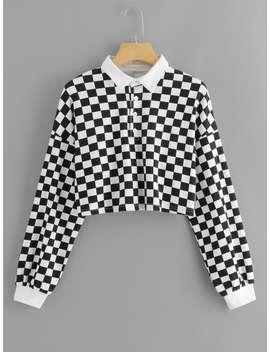 Drop Shoulder Gingham Sweatshirt by Romwe