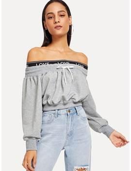Off Shoulder Drawstring Sweatshirt by Romwe