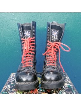 Biker Combat Boots  Nps English Handmade Genuine Leather Made In England Steel Toe Cap Size by Etsy