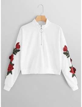 Floral Appliques Zip Front Sweatshirt by Romwe