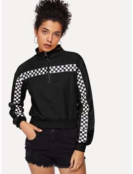 Zip Front Collar Graphic Print Sweatshirt by Romwe