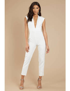 Takes Some Finesse White Plunging Jumpsuit by Tobi
