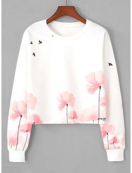 Floral Print Sweatshirt by Romwe