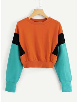 Colorblock Round Neck Sweatshirt by Romwe