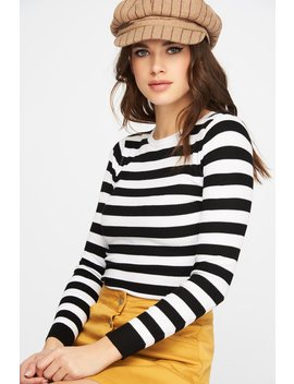 Multicolour Ribbed Striped Cropped Long Sleeve by Urban Planet