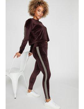 Velour Side Stripe High Rise Legging by Urban Planet