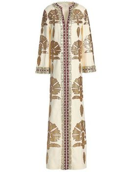 Leather Appliquéd Embellished Linen Maxi Dress by Tory Burch