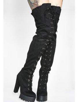 Boy Trouble Thigh High Boots by Lamoda